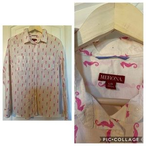 NWOT pink seahorse button down